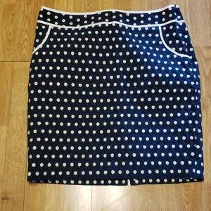 Eloquii navy w/cream embroidered polka dot skirt